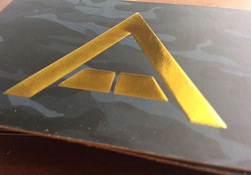 embossed business card with gold foil