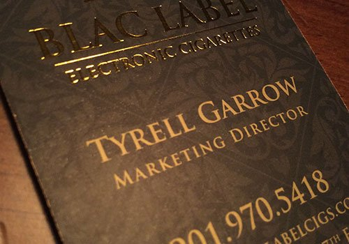 gold ink on business card