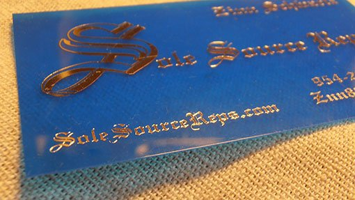 10 mil transparent plastic business cards with foil