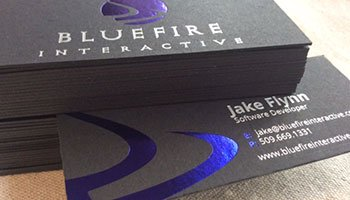 black business cards with foil